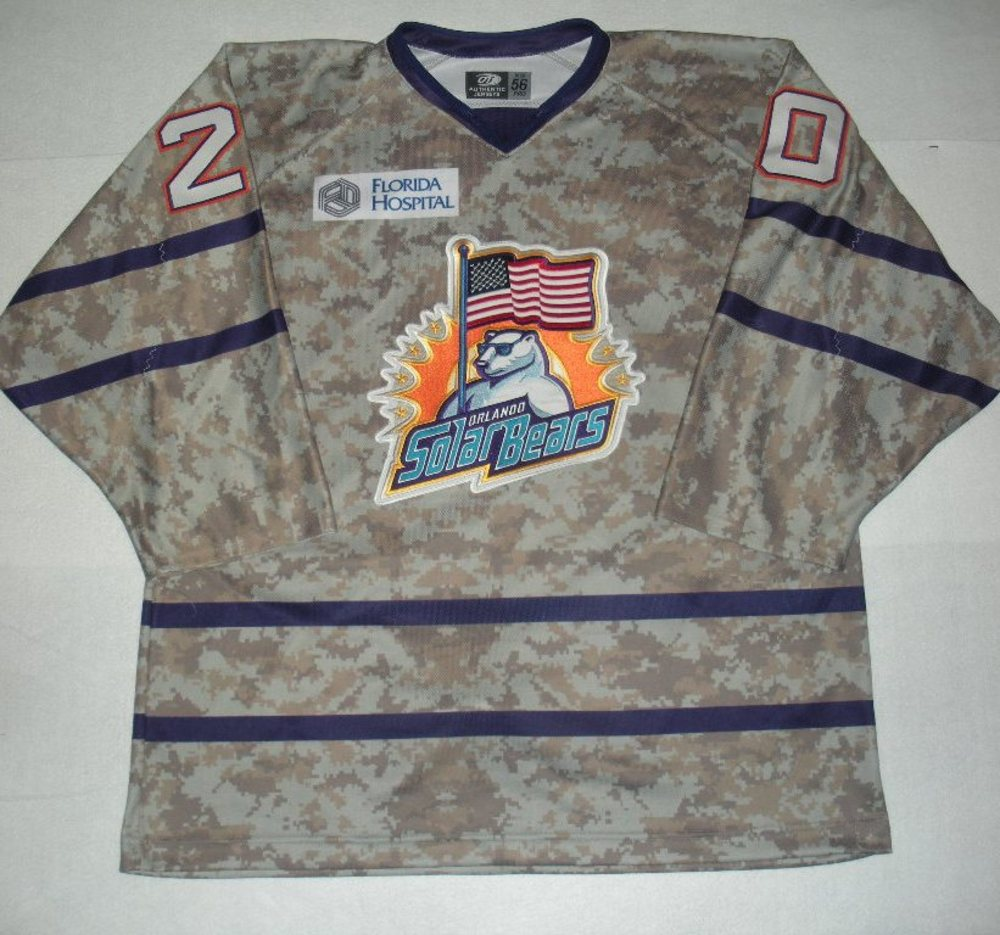 Orlando Solar Bears - Blake Kessel - Military Appreciation Night Camo Game-Worn Jersey