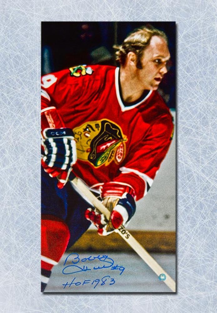 Bobby Hull Chicago Blackhawks Autographed 14x28 Art Canvas