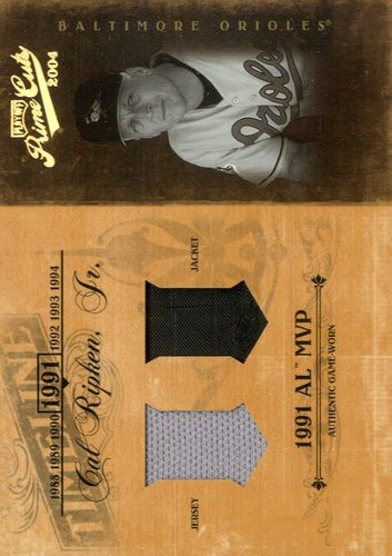 Photo of 2004 Prime Cuts II Timeline Material Combo #10 Cal Ripken Jkt-Jsy/25