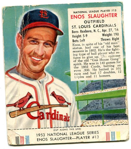 Photo of 1953 Red Man #NL13 Enos Slaughter -- With tab