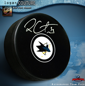 LOGAN COUTURE Signed San Jose Sharks New Style Puck