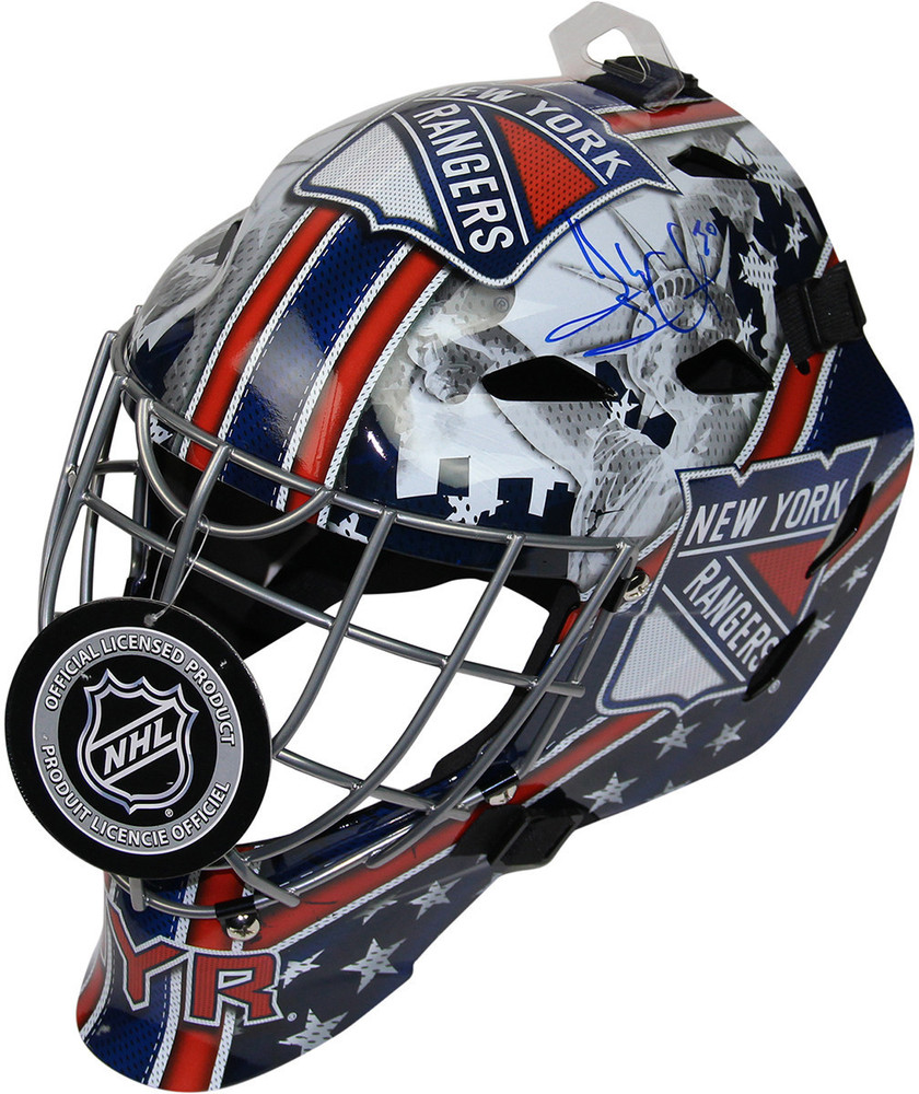 Henrik Lundqvist Signed New York Rangers Full Size Replica Shield Logo Goalie Mask