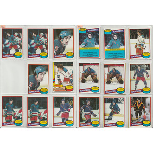 Lot of 1980s New York Rangers O-PEE-CHEE Hockey Cards - Phil Esposito, John Vanbiesbrouck (RC), Marcel Dionne - 52+