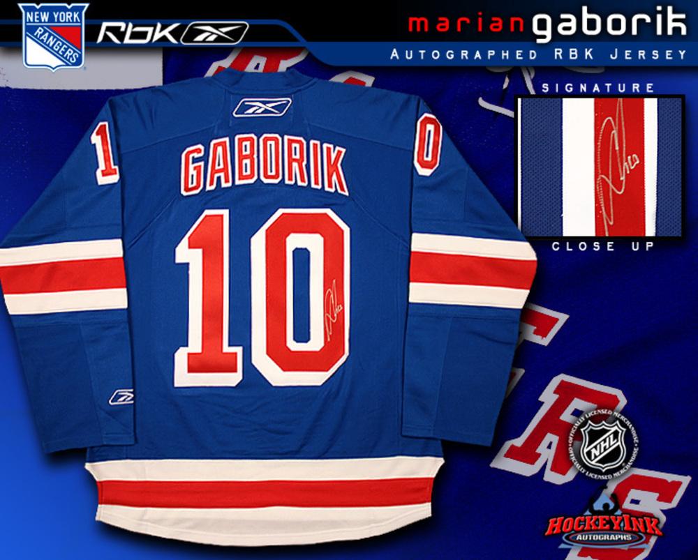 MARIAN GABORIK Signed RBK Premier Blue Jersey - New York Rangers