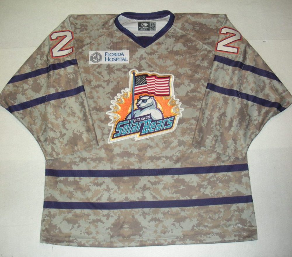 Orlando Solar Bears - Zach Harrison - Military Appreciation Night Camo Game-Worn Jersey