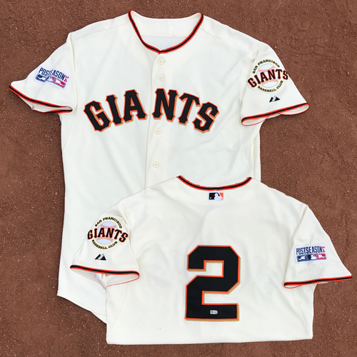 Photo of 2014 World Series Champion San Francisco Giants - 2014 NLDS Game 4 and NLCS Game 4 - Game-Used Jersey - Juan Perez - 2 runs scored