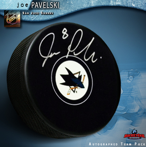 JOE PAVELSKI Signed San Jose Sharks New Style Puck