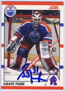 Grant Fuhr Edmonton Oilers Autgraphed Hockey Card