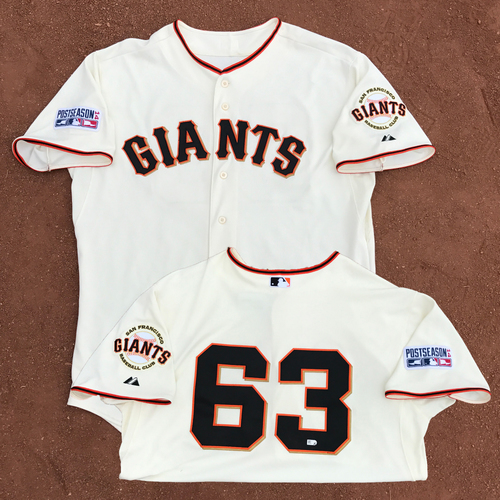 Photo of 2014 World Series Champion San Francisco Giants - 2014 NLDS Game 4 and NLCS Game 4 - Game-Used Jersey - Jean Machi