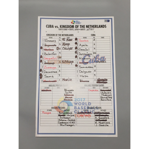 2017 WBC: Game-Used Line-Up Card - Cuba vs. Netherlands - 3/15/17