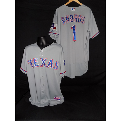 Photo of Elvis Andrus-Game-Used Grey Jersey Worn 9/19/2017 vs. SEA; Went 2-4; 1 RBI - Size 48