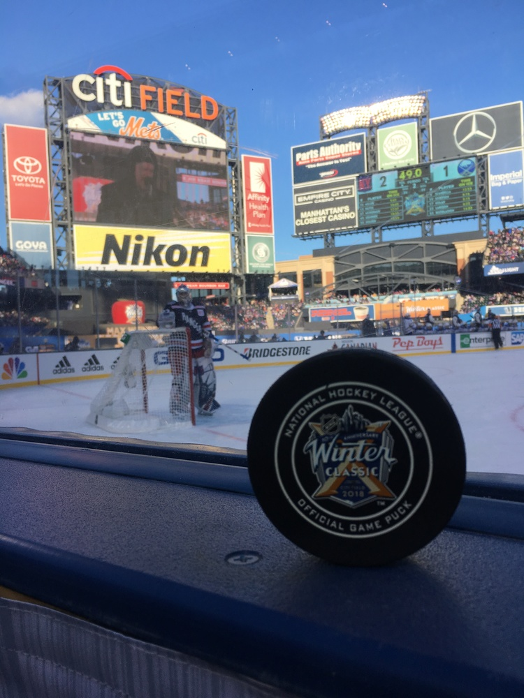 New York Rangers vs. Buffalo Sabres 2018 NHL Winter Classic Game-Used Puck - Used During First Period