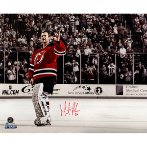 Martin Brodeur Signed Final Game Wave with Red Accents 16x20 Photo