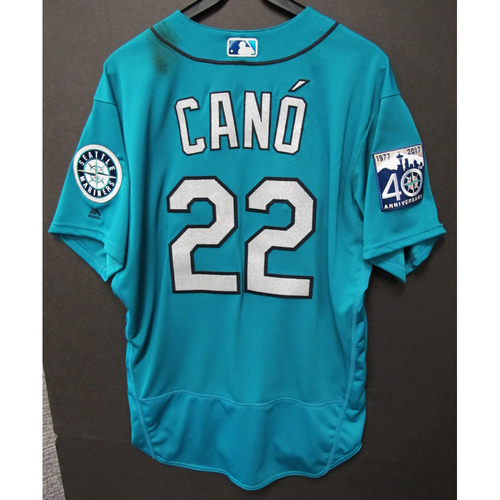 Photo of Robinson Cano Green 40th Anniversary Game-Used Jersey 4/14/2017  Size 48