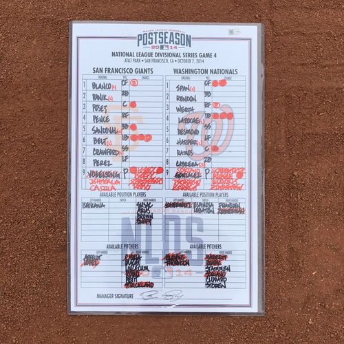 Photo of 2014 World Series Champion San Francisco Giants - Game-Used Line-up Card - 2014 NLDS Game 4 - Lineup Card - Giants Win 3-2