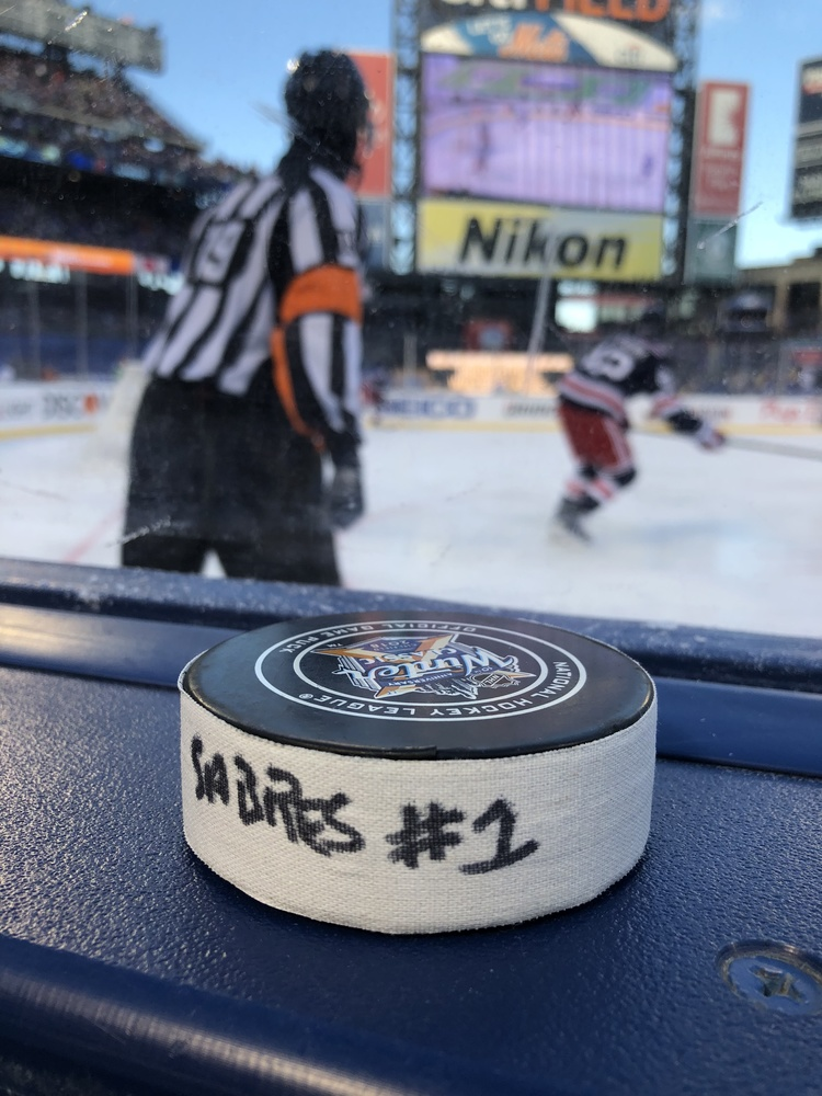 Sam Reinhart Buffalo Sabres Game-Used Goal Puck from the 2018 Winter Classic on January 1, 2018 vs. New York Rangers