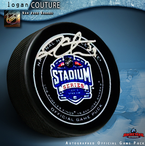 LOGAN COUTURE Signed 2015 NHL Stadium Series Official Game Puck - San Jose Sharks