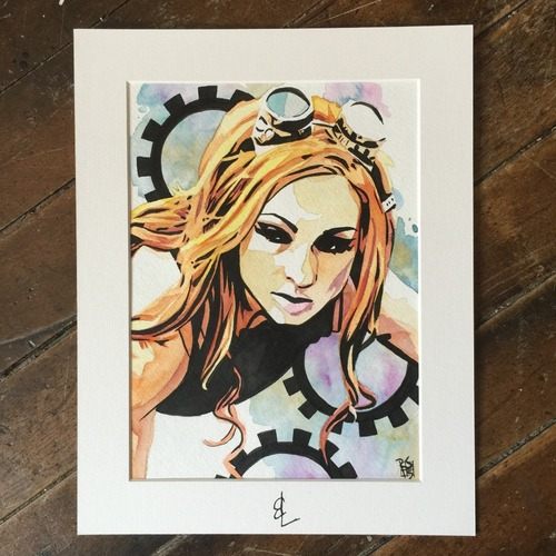 Photo of Becky Lynch SIGNED Rob Schamberger Painting
