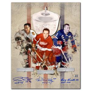 Pierre Pilote, Red Kelly & Harry Howell Norris Trophy HOF Triple Autographed 16x20