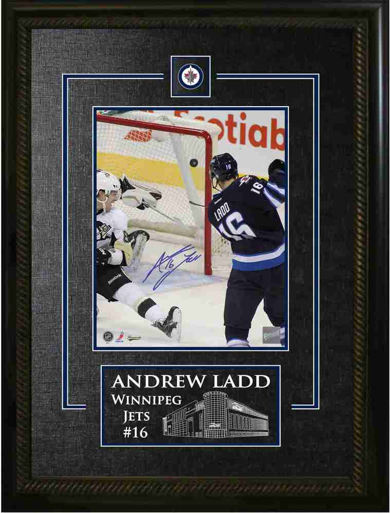 Andrew Ladd - Signed & Framed 8x10 Etched Mat - Winnipeg Jets Scoring vs. Pittsburgh Penguins