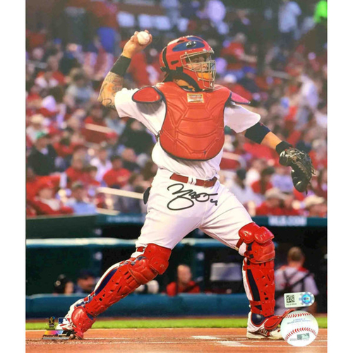 Photo of Cardinals Authentics: Yadier Molina Autographed Throwing Photo