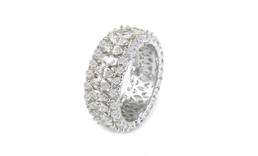 Yeidid International Model BRCZ7593 18kt White Gold Plated  Marquisey Band Eternity Ring size 6