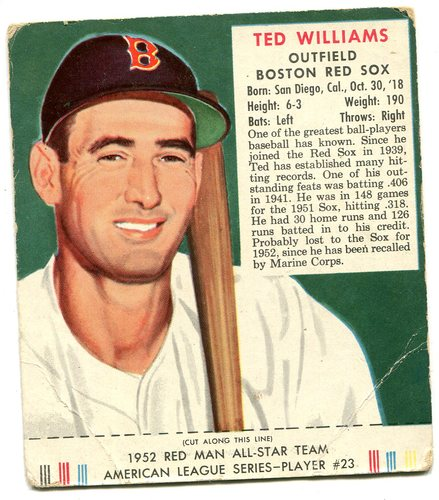 Photo of 1952 Red Man #AL23 Ted Williams With Tab