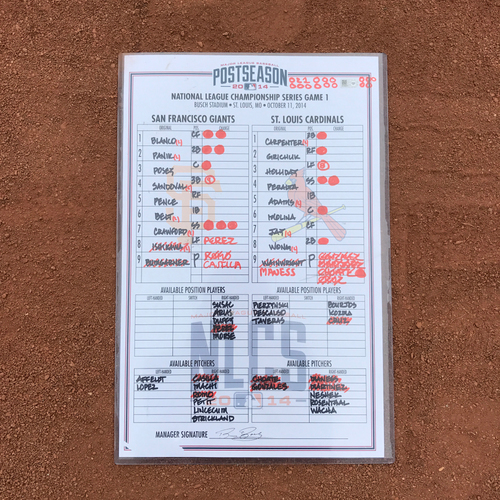 Photo of 2014 World Series Champion San Francisco Giants - Game-Used Line-up Card - 2014 NLCS Game 1 - Giants Win 6-3