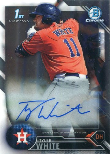 Photo of 2016 Bowman Chrome Prospect Autographs  Tyler White -- Astros post-season