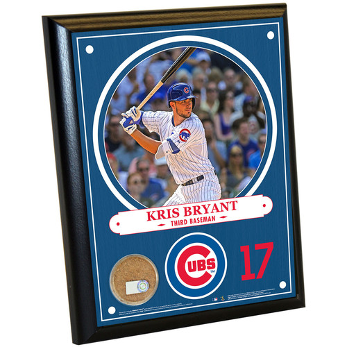 Photo of Chicago Cubs Kris Bryant 8x10 Plaque with Game-Used Dirt from Wrigley Field