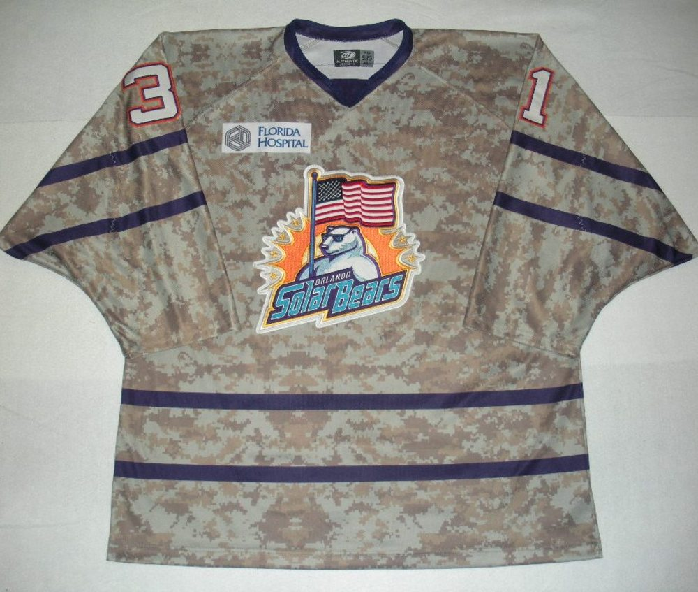 Orlando Solar Bears - Christopher Gibson - Military Appreciation Night Camo Game-Worn Jersey