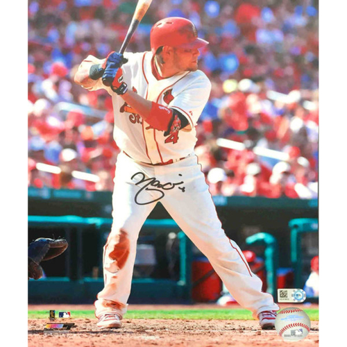 Cardinals Authentics: Yadier Molina Autographed Batting Photo