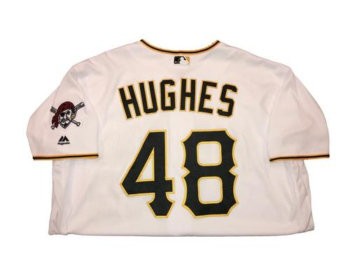 Photo of Jared Hughes Game-Used Home White Jersey - 2016 Opening Day