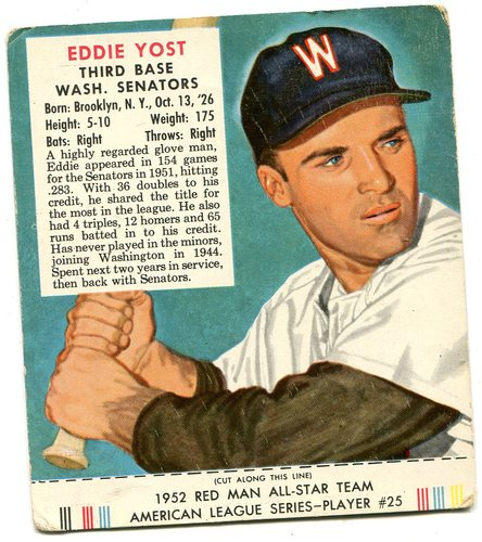 Photo of 1952 Red Man #AL25 Eddie Yost With Tab