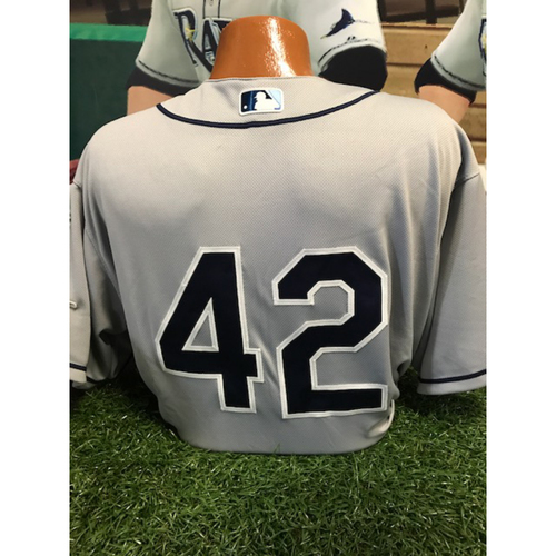 "Photo of Game-Used ""42"" Jersey: Tommy Hunter - 4/15/17"