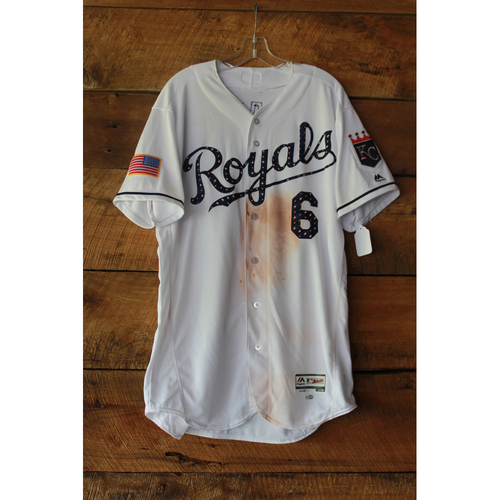 Photo of Lorenzo Cain Game-Used Jersey (7/1/17 MIN at KC) (Size 46)