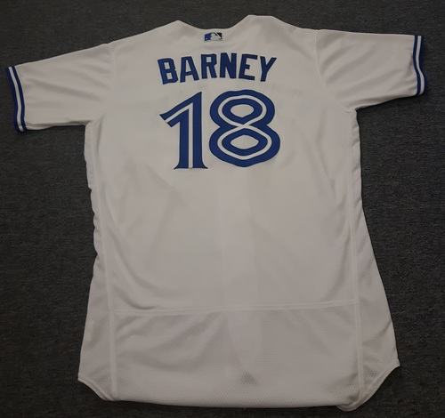 Authenticated Game Used Jersey - #18 Darwin Barney (July 28, 2017: 1-for-3 with 1 Double and 1 Run). Size 44.