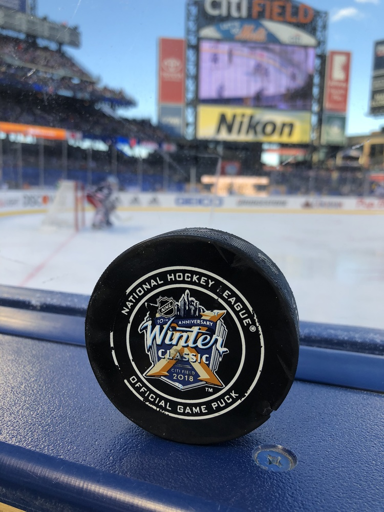 New York Rangers vs. Buffalo Sabres 2018 NHL Winter Classic Game-Used Puck - Used During Second Period