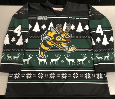 Ashton Reesor Sarnia Sting game-ready 2018 Ugly Christmas Sweater jersey