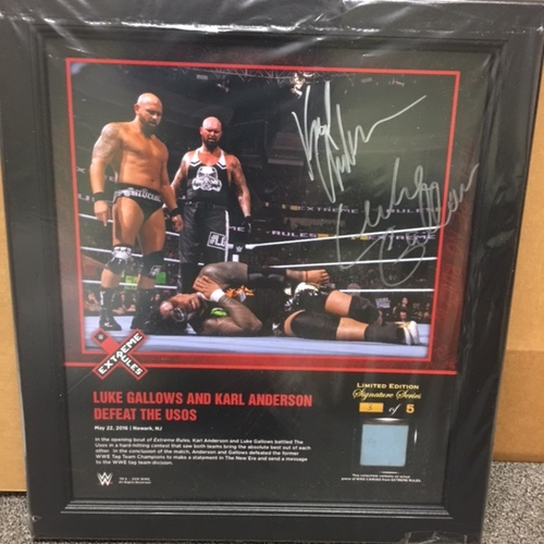 Photo of Luke Gallows & Karl Anderson SIGNED Extreme Rules 2016 15 x 17 Framed Ring Canvas Photo Collage