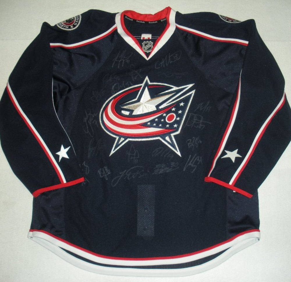 Jukka Nieminen Charity Auction - Columbus Blue Jackets - 2013-2014 Team Autographed Jersey