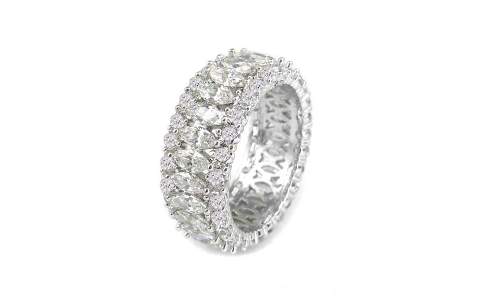 Yeidid International Model BRCZ7593 18kt White Gold Plated  Marquisey Band Eternity Ring size 8