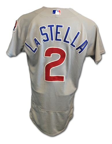 Tommy La Stella Game-Used Jersey -- La Stella 1 for 1, RBI Double -- Cubs Clinch 2017 NL Central Division -- Cubs at Cardinals -- 9/27/17