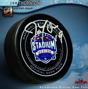 JOE THORNTON Signed 2015 NHL Stadium Series Official Game Puck - San Jose Sharks
