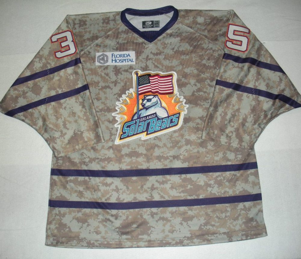 Orlando Solar Bears - John Curry - Military Appreciation Night Camo Game-Worn Jersey