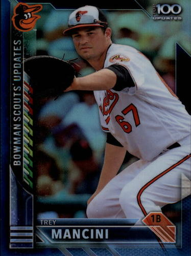 Photo of 2016 Bowman Chrome Bowman Scouts Updates Blue Refractors #BSUTM Trey Mancini