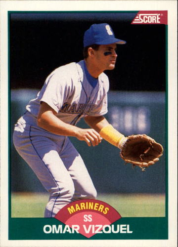 Photo of 1989 Score Rookie/Traded #105T Omar Vizquel -- Seattle Mariners rookie card
