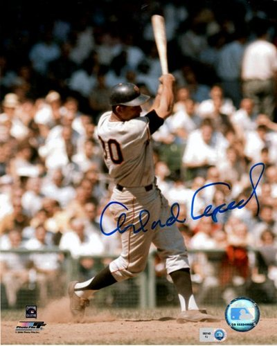 Photo of Orlando Cepeda Swinging Autographed 8x10