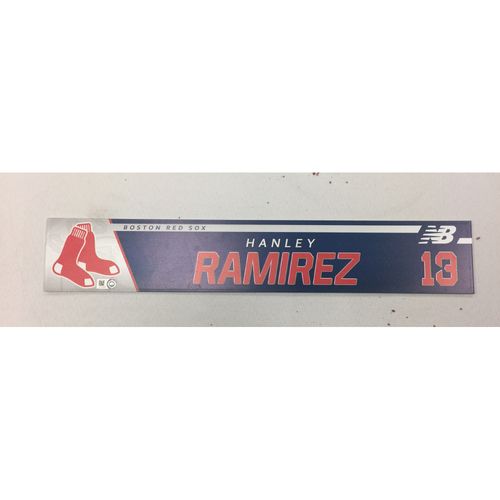 Photo of Hanley Ramirez August 26, 2017 Game-Used Locker Tag