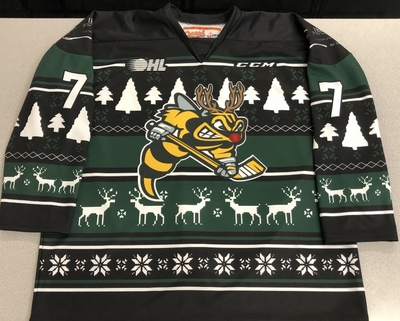Nick Grima Sarnia Sting game worn 2018 Ugly Christmas Sweater jersey